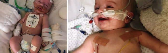 Depois de passar cinco dias em coma, ele acorda com um grande sorriso para seus pais