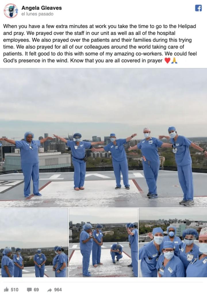 Imagens de médicos e enfermeiros orando em hospitais contra a pandemia conquistam as redes 2