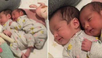 Vídeo de gêmeas recém-nascidas se abraçando enquanto dormiam se torna viral