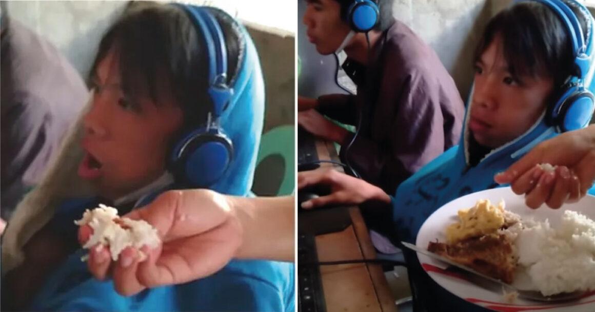 Mãe dá comida na boca do filho de 13 anos enquanto ele joga videogame