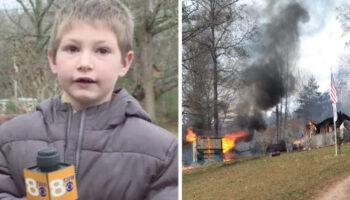 Menino de 7 anos entra em sua casa em chamas para resgatar sua irmãzinha de meses