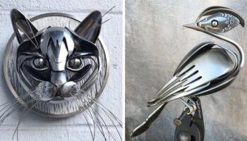 Artista faz esculturas com talheres reciclados que parecem obras de arte