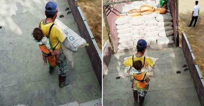 Este pai viúvo trabalha com seu filho nas costas para não deixá-lo sozinho