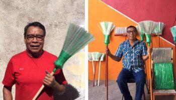 Senhor de 72 anos transforma centenas de garrafas plásticas em vassouras domésticas