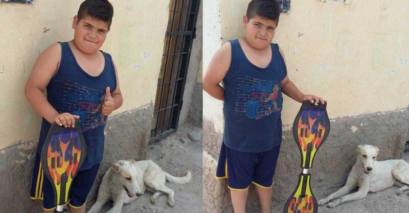 Menino de 9 anos colocou seu skate à venda para salvar a vida de um cãozinho de rua