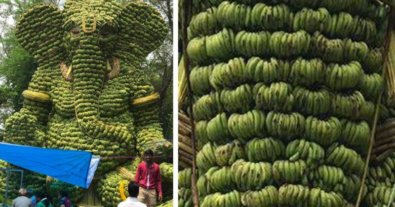 Conheça a enorme escultura de Ganesh feita com mais de 5 toneladas de bananas