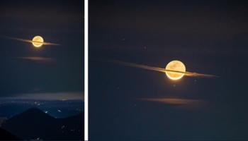 Fotógrafo registra imagem única da lua disfarçada de Saturno