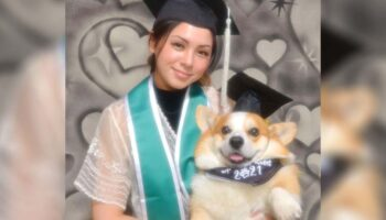 Aluna faz sessão de fotos de formatura com o cachorrinho que lhe ajudou