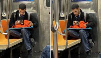 Homem flagrado amamentando um gatinho no metrô restaura a fé na humanidade
