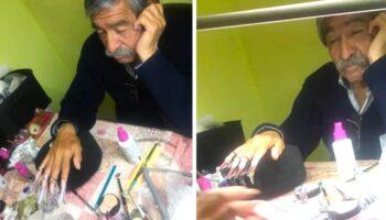 Papai aceita ser modelo de unhas para ajudar sua filha a passar em prova de manicure