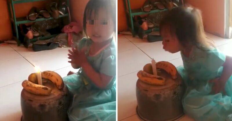 Menina de 3 anos comemorou feliz com seu 'bolo' de aniversário feito de bananas, não havia dinheiro suficiente