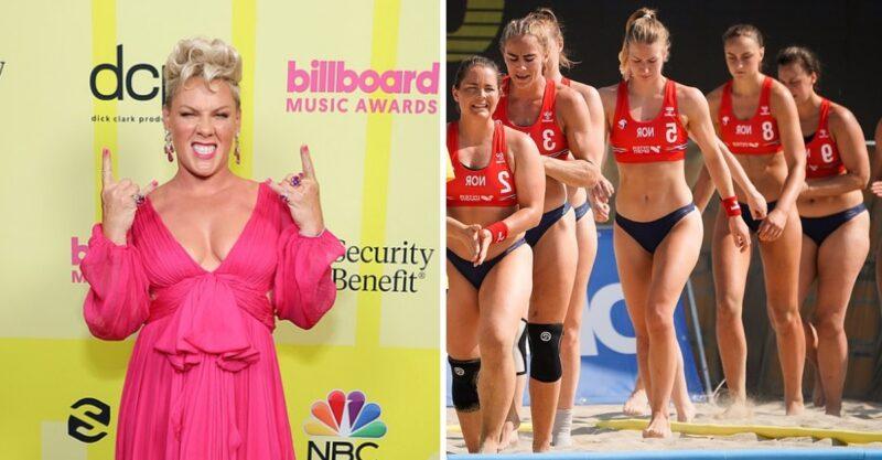 Pink vai pagar multa da seleção norueguesa de handebol por não usar biquínis