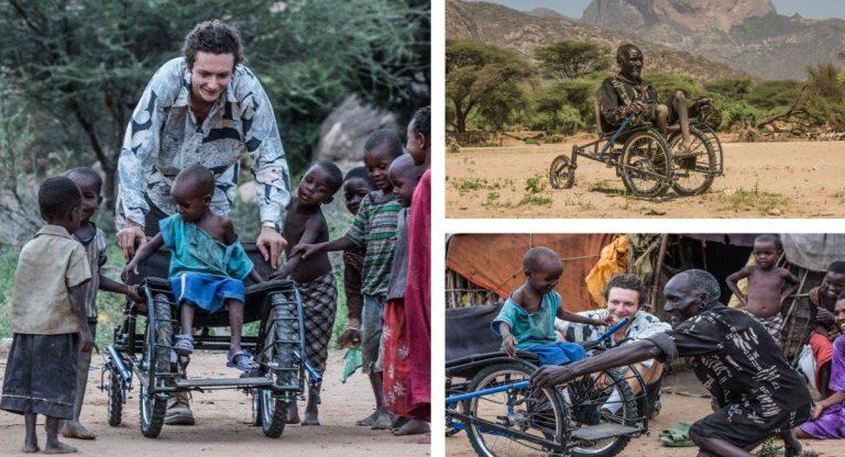 Jovem fabrica cadeiras de rodas com peças velhas de bicicletas e doa aos necessitados