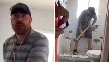 Pedreiro destrói banheiro que havia acabado de reformar, a dona não gostou do seu trabalho
